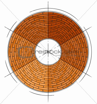 abstract architectural brick circle symbol