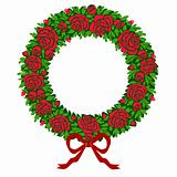 Vector red roses wreath