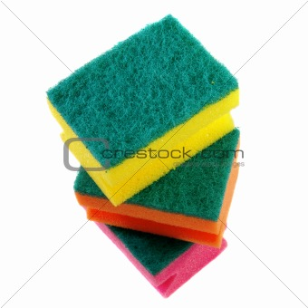 three colorful sponges.
