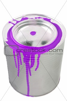Tin of a violet paint. Isolated over white