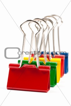 group of multicolor paper clips isolated