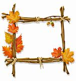 decorative wooden frame made of branches with autumn leaves