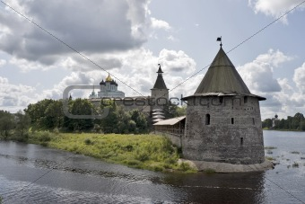 Ancient Pskov land with fortress
