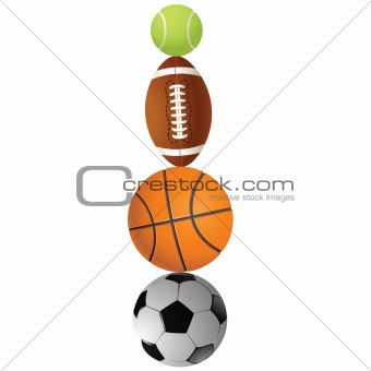 Football, volleyball, tennis and Rugby football balls.Vector ill