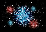 Fireworks with newyear - Vector image