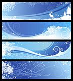 four blue winter banners