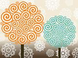 vector set of swirl tree