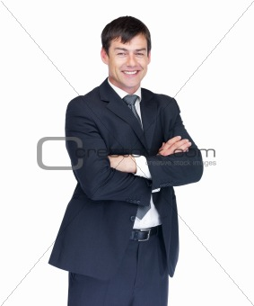 Confident business man smiling against white background
