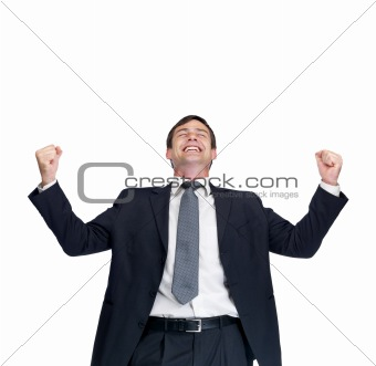 Excited successful mature business man isolated against white