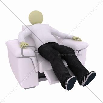 Man in soft armchair