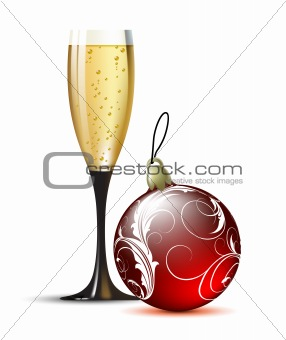 champagne with fir ball