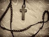 rosary sepia toned