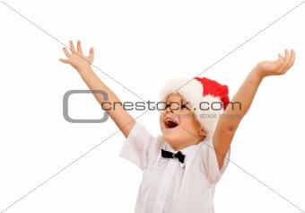 Boy welcoming the christmas