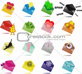 16 Multi-coloured envelopes with surprises