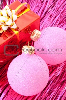 Christmas balls among silver glittering decoration