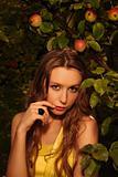 Woman in apple's garden