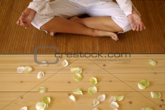 one woman meditating