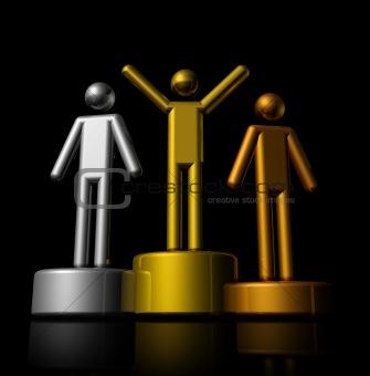 3D winners podium