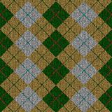 green, yellow, grey tartan knitwork pattern
