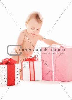 baby boy with gifts