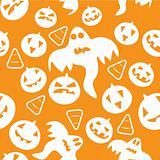 Seamless halloween pattern with pumpkins, ghosts and candy corns