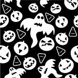 Seamless halloween pattern with ghosts, pumpkins and candy corn