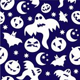 Seamless halloween background with ghosts