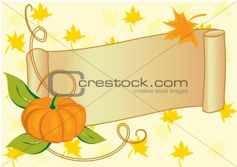 Autumnal banner with pumpkin for Thanksgiving day