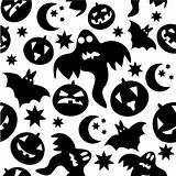 Seamless halloween pattern with black ghosts on white background