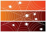 Set of three halloween banners with spiders