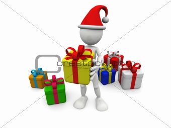 3D white man with gift boxes