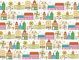 Retro House Pattern SEAMLESS