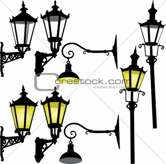 Retro street lamp and lattern