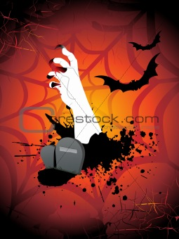 grungy hand, bat on cobweb background