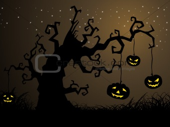 background with pumpkin hanging on tree