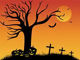 sunset background with pumpkin, dead tree