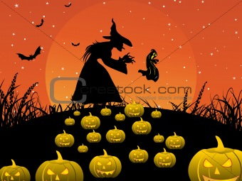 background with witch, pumpkin