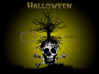 background with isolated skull, illustration
