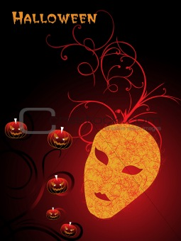 background with mask, pumpkin