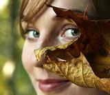 The girl with the leaf