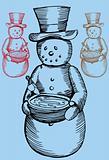 Snowman Birdbath