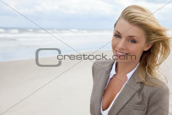 Beautiful Blond Woman At the Beach