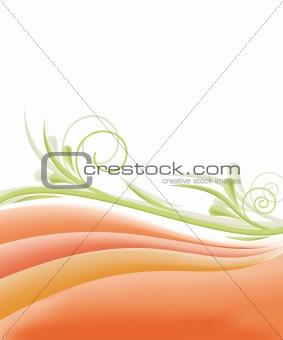 Floral background in orange design