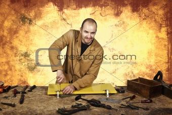 carpenter at work grunge background