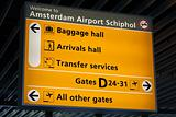 Information sign in Schiphol airport
