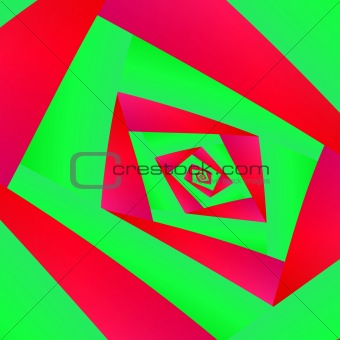 Green and Red Square Spiral