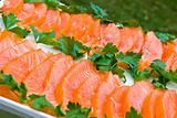 Sliced salmon fillet