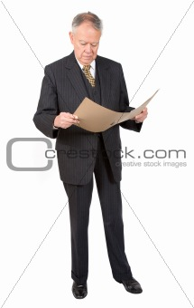 business man reading a report