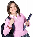 female student with books and bag