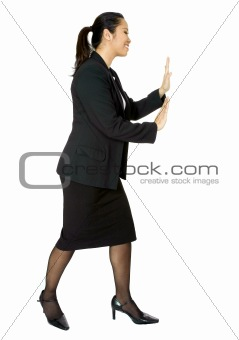 asian business woman pushing something aside